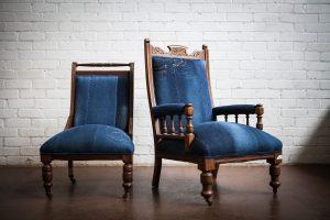 Upholstered Adelaide Vintage denim chair 2