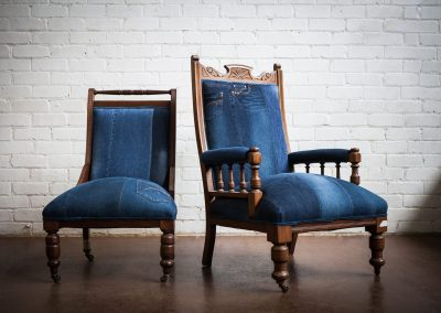 Upholstered Adelaide Vintage denim chair 2