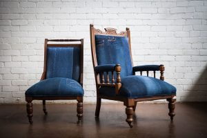 Upholstered Adelaide Vintage denim chair 1