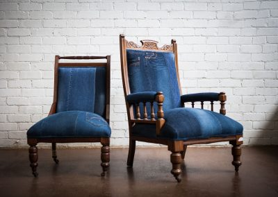 Upholstered Adelaide Vintage denim chair 1